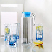 hot selling drinking water glass set 1.1L glass jug and 4 cups set