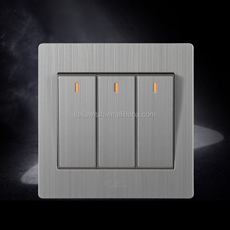 Stainless three gang 1 way or 2 way fancy electrical switch board