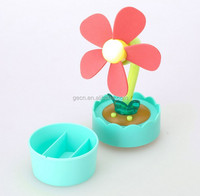 Electrical Gadget Flower Pot USB Powered EVA Soft Blade Fan AAA Battery Operation with Night Lamp Safe ABS Fan
