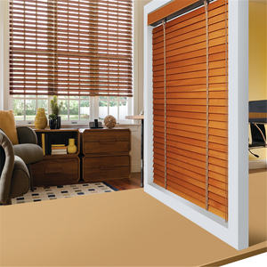 Classical feeling red color basswood electrical wooden venetian blind