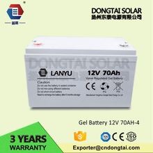 deep cycle gel dry cell battery 12v 70ah with iso ce rohs sgs certification/LANYU070ZYB375