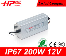 Aluminum box new design factory price led switch power constant voltage single output 200w 12v water proof led drivers