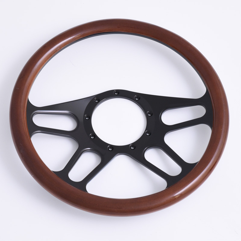 "China 14"" Billet Black Steering Wheel Half Wrap with leather for GM Corvair Impala Chevy II"