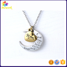Fashion Mon jewelry MOM heart gold engraved letters Mother's Day gift moon necklace