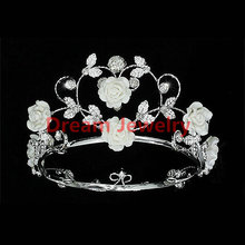 Crown 2 Handmade Flower Girl / Baby Crystal White Ceramic Heart Full Circle Round Mini Crown Tiara