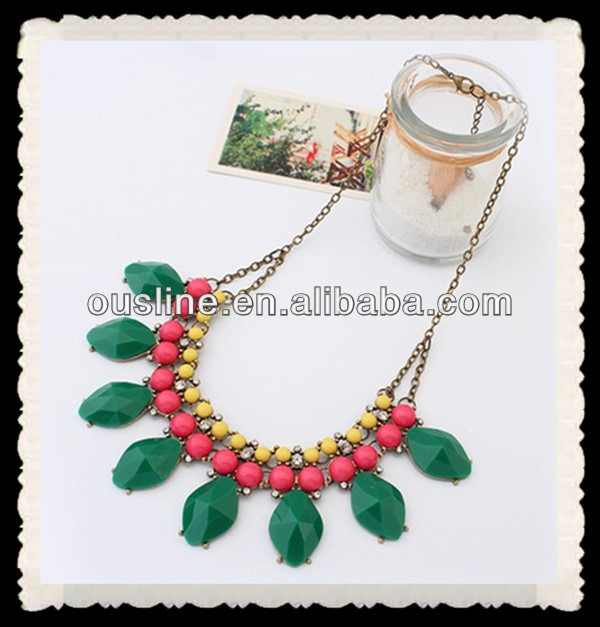 sweety contrast color acrylic necklace,fashion accessories jewelry necklace