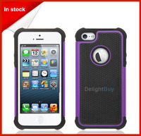 Hybrid Silicone Combo Case Black Hybrid Rugged Rubber Combo Matte Hard Case For iPhone 5 5S Purple