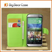 Wallet flip leather cell phone case for htc one mini 2