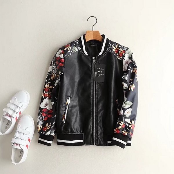 Faux Leather PU Zipper Short embroidered Biker Jacket Coat,womens faux leather motorcycle jackets