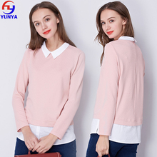 2018 Spring casual women long sleeve shirt patchwork fake two pieces blouse
