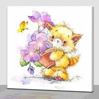 Cute Cat design light up oil painting on canvas for kids bedroom wall decor