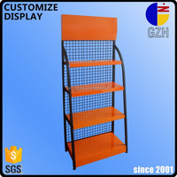 custom brand steel floor engine oil lubricant display stand with shelf for auto 4s shop