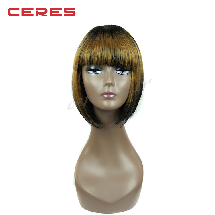 wholesale Heat Resistant Synthetic Hair short bob wig for black women in stock machine made cheap price