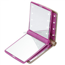 Factory supply plastic led light pocket mirror make up compact mirror