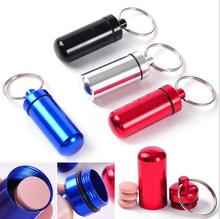 Portable Stash Pill box case medicine Storage Keychain Bottle Keyring Key Ring metal Aluminum Waterproof Bottle Container