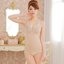 hot! woman V-neck lace vest,breast up and body shape underwear,3 colors Y109