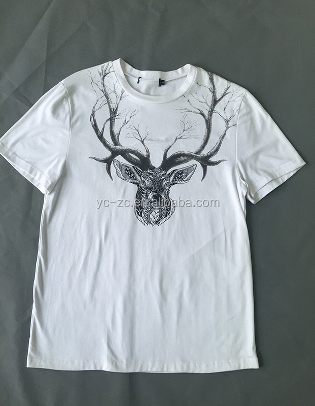 Supplier china bulk sale cutsom white deer print t shirt with high quality