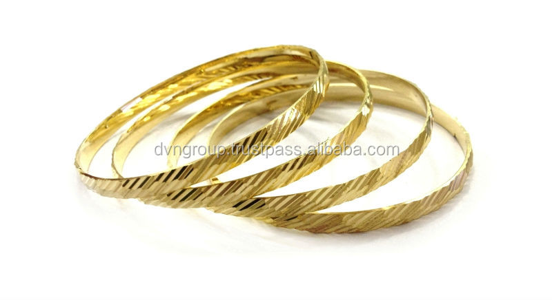 6 MM Gold Diamond Cut, Highly Polished Indian Bangle