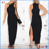 Global Fashion Hot Designer Clothes Plain Black Sleeveless Long Split Dress All Types Names Of Ladies Maxi Bodycon Dresses