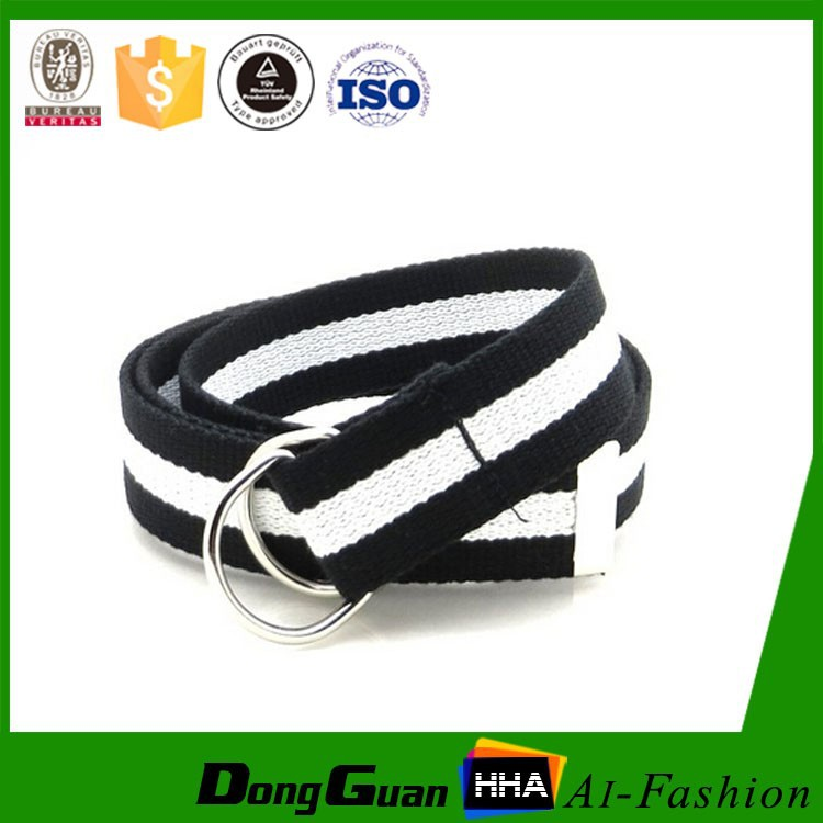 Style buckle military sports double ring men nylon web belts