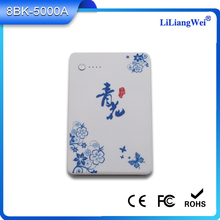 New design blue and white portable Mobile Universal power bank 5000mah Li-polymer battery power bank