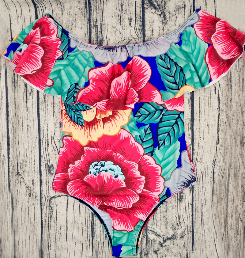 Sexy Floral Off Shoulder Swim Wear Lady High Cut Bathing Suit Ruffle Plus Size Monokini Thong Swimwear Women One Piece Swimsuit