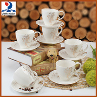 Professional design ceramic 6pcs tea cups with saucers/coffee cup with low price