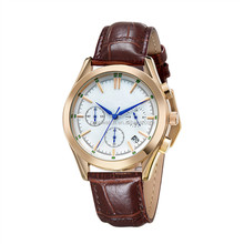 10ATM waterproof watch,brown leather band men watch