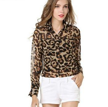 Latest ladies western blouse chiffon top summer leopard design long sleeve woman fashion shirt