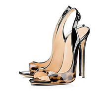 Women High Heel Peep Toe Stilettos Leopard Sexy Lady Shoes Patent Leather Party Dress High Heels Sandals