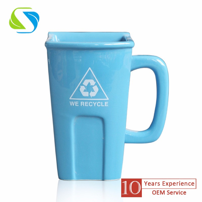2016 new creative design christmas promotional custom logo full printed ceramic trash can mug cup 300ml
