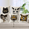 vivid hand painted 3d fierce animal head tiger wolf owl plain cushion cover pillow case car seat