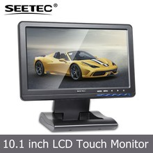 Portable 10.1'' VGA HDMI Ypbpr Input 4-Wire Resistive Touch Screen POS folding lcd monitor stand