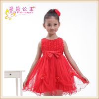 korean style prom dress Bow red fluffy princess dress