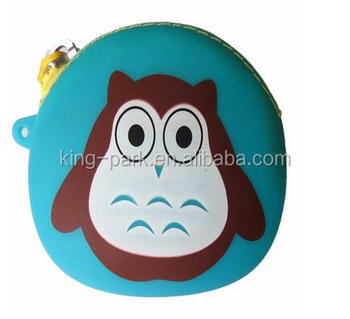 cute cartoon wallet with zipper custom mini silicone purse