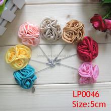2016 New fashion handmade satin rose lapel pin for men wedding decoration