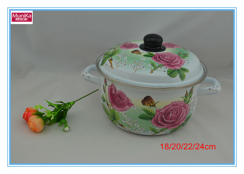 Enamelware product wholesale flower induction cookware casserole non-stick shallow cooking casserole sauce pan white soup pot