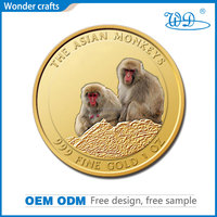 hot new products for 2015 customized logo collections 3d silver metal raw material punched epoxy gold coin monkey 2016