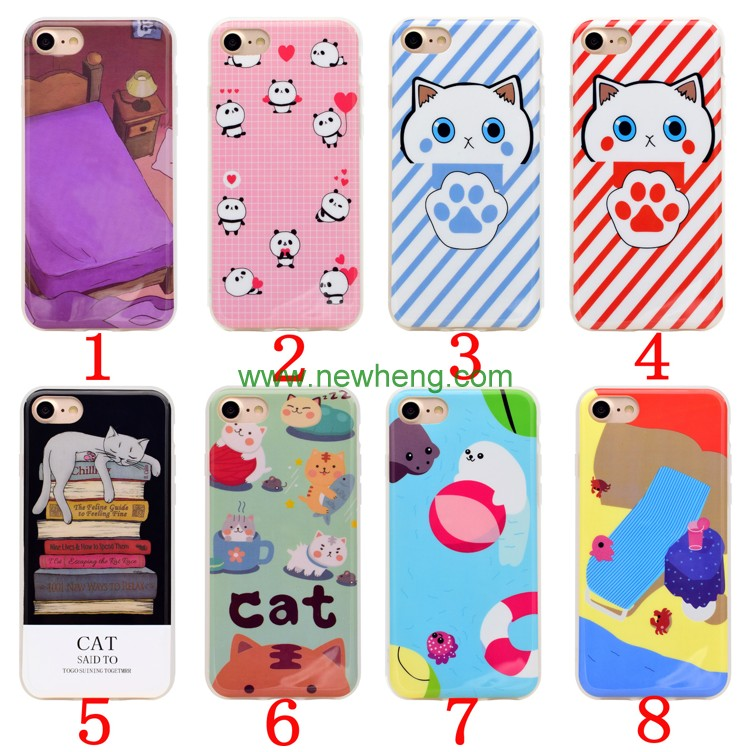 3D cute soft silicon Squishy cartoon animals cat back cover for iphone 7
