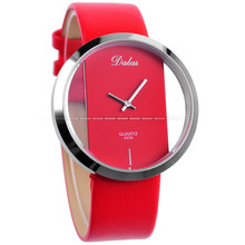 Lady Women's Girls Red Leather Band Transparent Quartz Fancy Wrist Watch