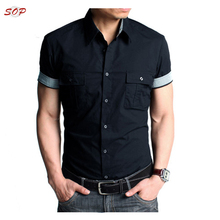 Short sleeve urban wear man shirts formal pockets cotton blank shirt line