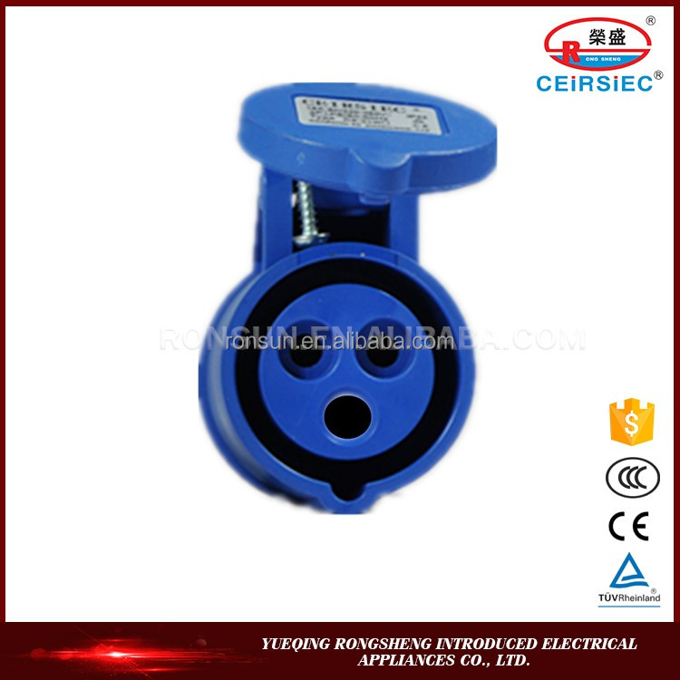 Waterproof 16A 2P+E IP44 220-250V battery connectors
