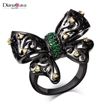 Fancy Ladies Gift Black Color Crystals Cubic Zirconia Fine Jewelry Unique Bow Ring