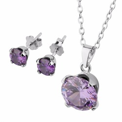 fashion crystal 925 sterling silver bridal jewelry set for women