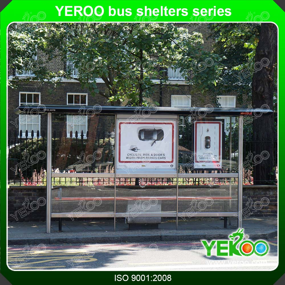 City public advertising bus stop shelter with solar power