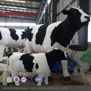 Moving Animal model Life size cow with animal fur 3D animal