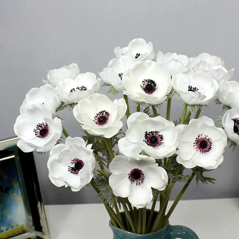 Artificial white anemone hot real touch living color artificial anemone artificial anemones artificial flowers PU Anemones