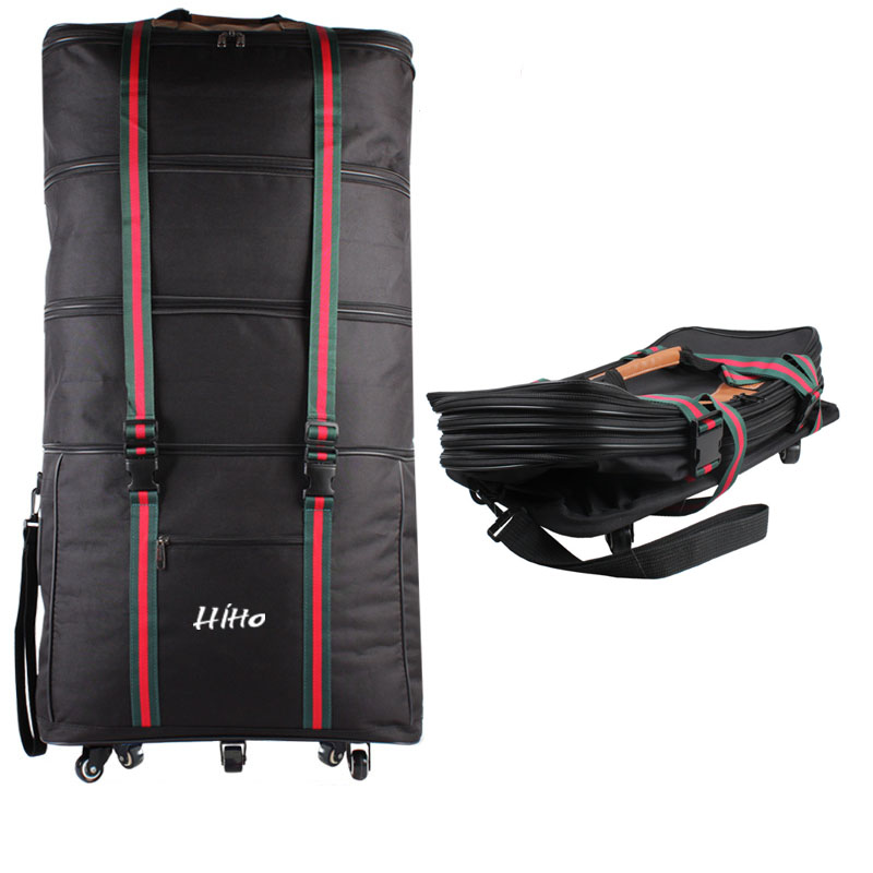 Packable Foldable Wheeled Expandable Travelling Duffel Luggage Trolley Bag