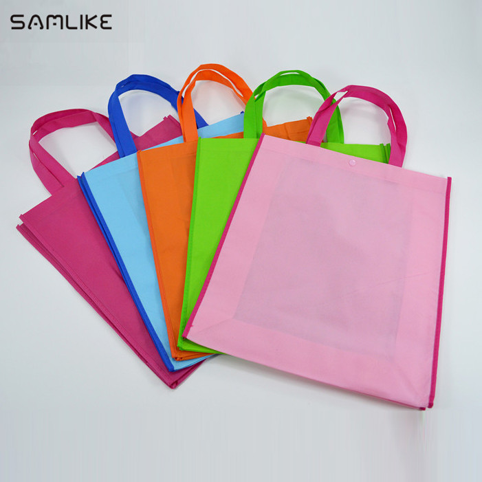Recyclable Machine Made Shopping Shopper Tote Bag Non Woven Bag With Custom Printed Logo