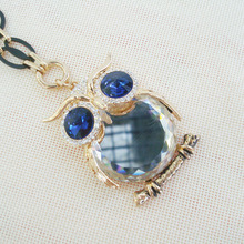 2015 hot channel fashion jewelry design necklace pretty woman fashion glass owl necklace